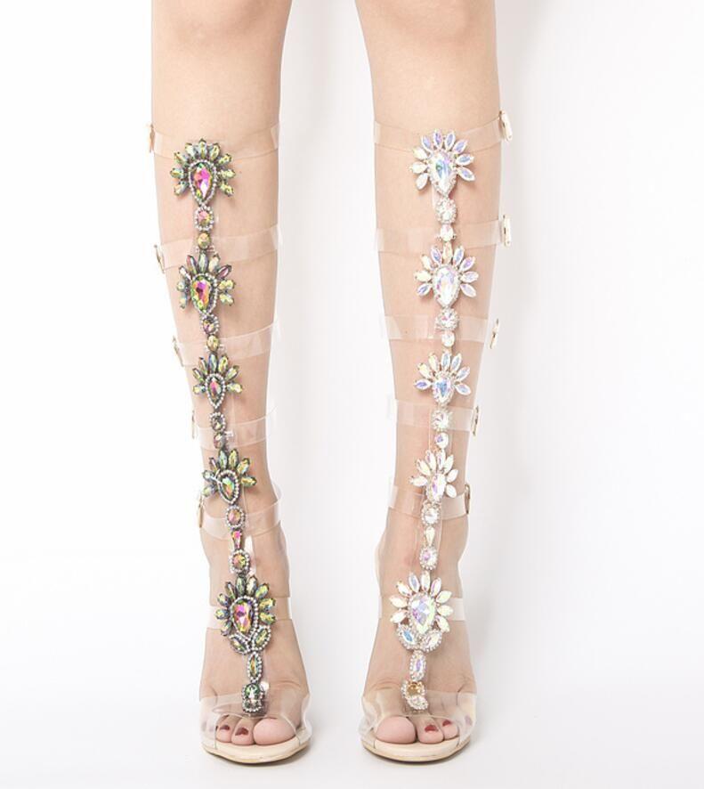 27b0da7313ef 2017 Summer Women Knee High Boots Clear Heel Gladiator Sandals Booties  Glitter Diamond Booties Dress Shoes Shinny Crystal Half Boots Woman Boots  Sale Wedge ...