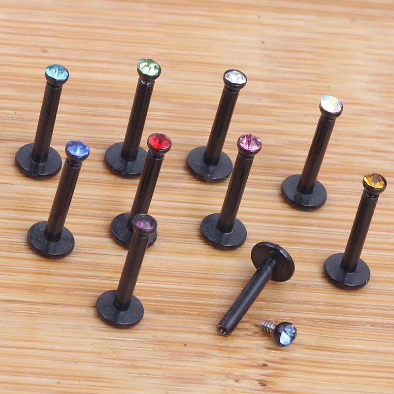 16G Preto Aço Inoxidável Internamente Rosca Cristal Labret Lip Anel Bola Queixo Piercing Barras Jóia Do Corpo
