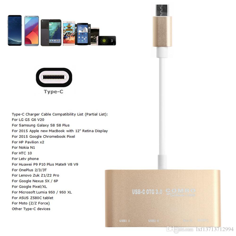 USB-C OTG Hub, USB-C to USB 3.0+USB 2.0+TF/SD/MicroSD Card Reader+Micro USB - Aluminum Adapter Connector Cable for Macbook Pro/ChromeBook/