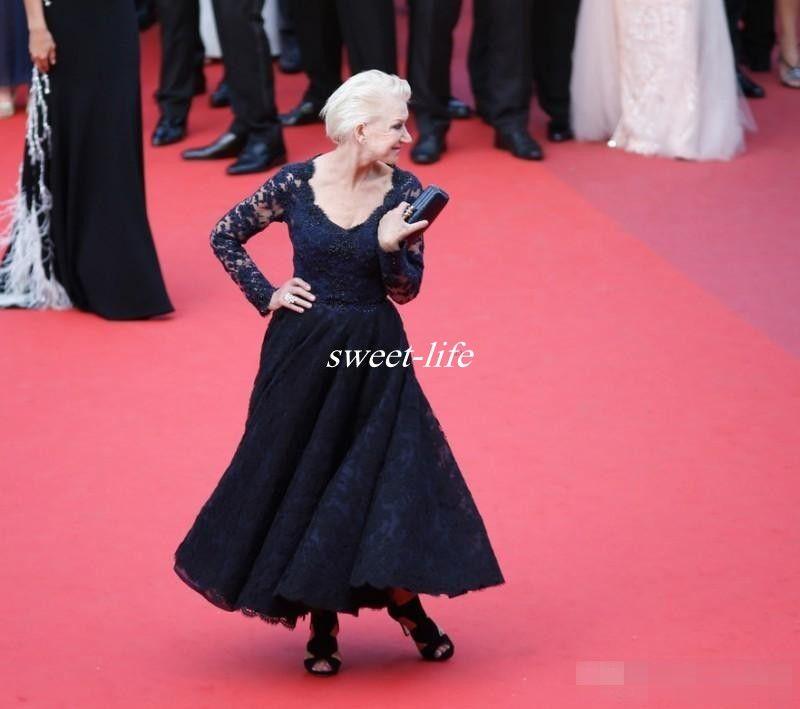 2020 Cannes Abiti la madre della sposa Manica lunga Scollo a V Lunghezza alla caviglia Pizzo a buon mercato Celebrità Abito da cerimonia Abiti da sposa madre
