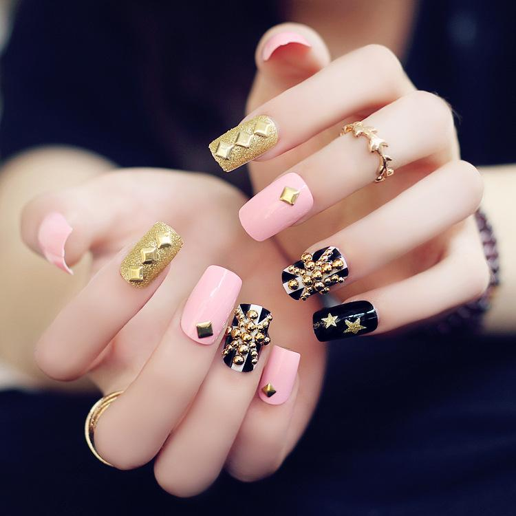 Fashion Pink Base Flag Glitter Gold Metal Rivet Nail Art False Fake Tips Stickers With Glue Foil Stencils From Kenna123 805