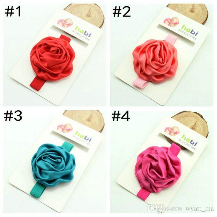 Wholesale 2016 Beautiful Satin Rose Flowers Elastic Band Headbands Kids Children Hair Accessories Babies Princess For Flower Girls Headbands