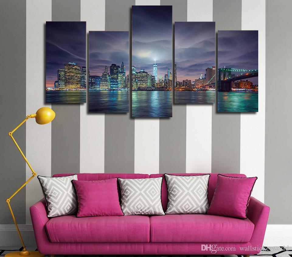 Framed Printed usa new york city night lights Painting on canvas room decoration print poster picture canvas /ny-4964