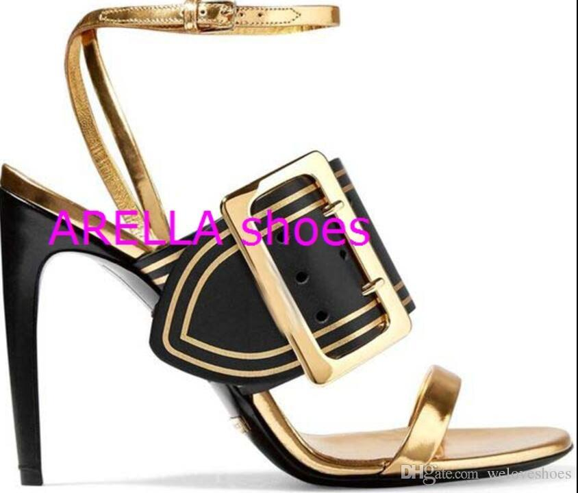 2017 new women buckle sandals ankle strap high heels wedding shoes open toe gladiator sandals thin heel gold match black mixed color pumps