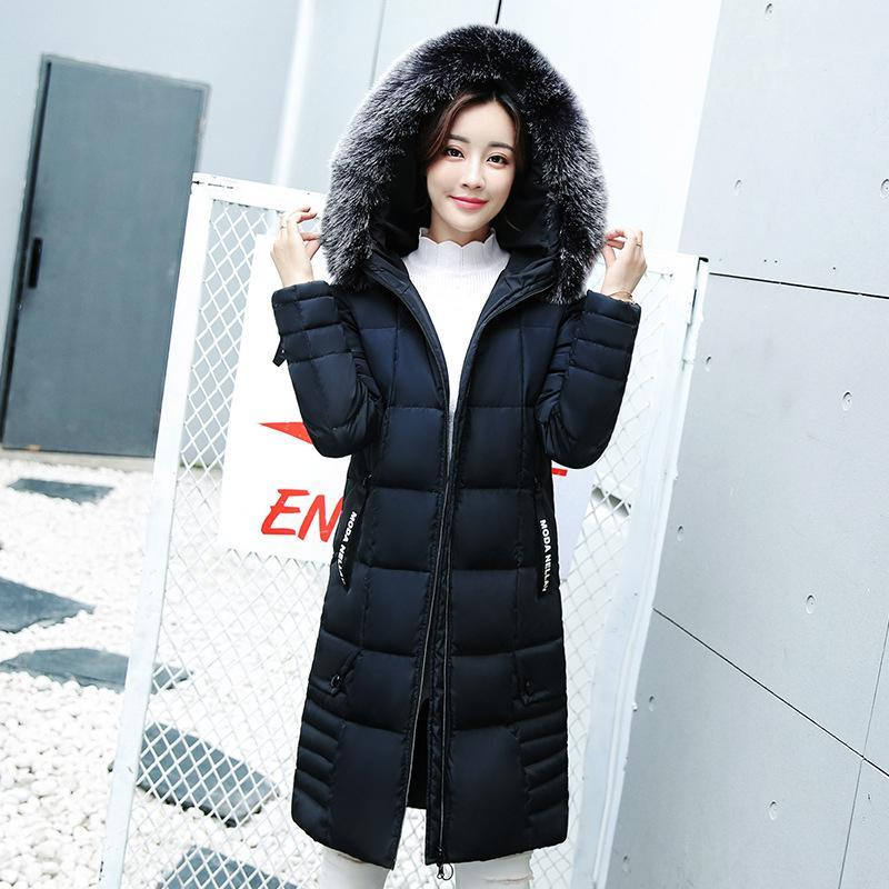 d62c23920 Women Brand Winter Down Jackets Big Fur Collar Warm Hooded Coats Ladies  Thicken Cotton Padded Parka Casual Slim Long Outerwear