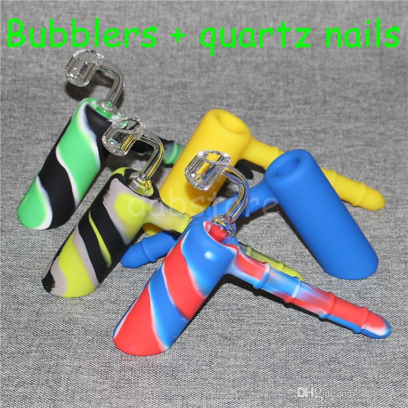 Mini Hammer Wasserpfeifen 18.8mm Joint Silikon Hammer Bubbler Smoking Pipes Silikon stumpf Bongs + 4mm Dicke 18.8mm männlichen Quarz Nagel DHL