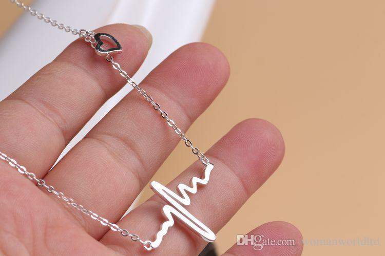 2016 Kadın Avrupa EKG Kolye Kalp şeklinde 18 K gül altın Kolye klavikula zincir Yaka Aksesuarları Göndermek kadın sevgililer günü hediye