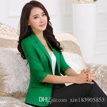 Compre Blazer Mujer 2017 Nuevas Mujeres Coreanas Delgadas Blazers Y  Chaquetas Más El Tamaño Verde Negro Blanco Casual Señoras Chaqueta De Traje  De Un Botón ... b82661683b9a