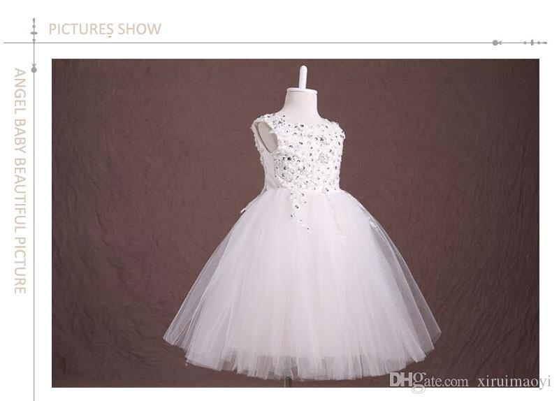 Real Photos Ball Gown Tulle Diamond Flower Girl Dresses For Weddings 2015 First Communion Dresses Pageant Dresses