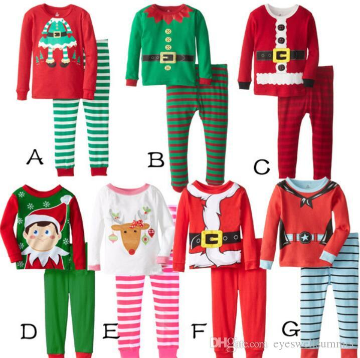 2018 kids christmas suits 8styles boys girls christmas santa pajamas set pyjamas kids spring autumn sleep clothing set for 2 7t from eyeswellsummer