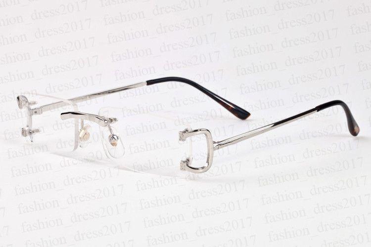 جديد أزياء النظارات الرياضية للرجال واضحة مربع عدسة الجاموس النظارات بدون شفة القرن إطار المتضخم خمر الذهب الفضة النظارات الشمسية المعدنية