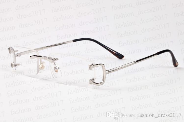 erkekler kare açık lens manda boynuzu gözlük çerçevesiz çerçeve boy bağbozumu altın gümüş metal güneş gözlüğü için yeni moda spor güneş gözlüğü