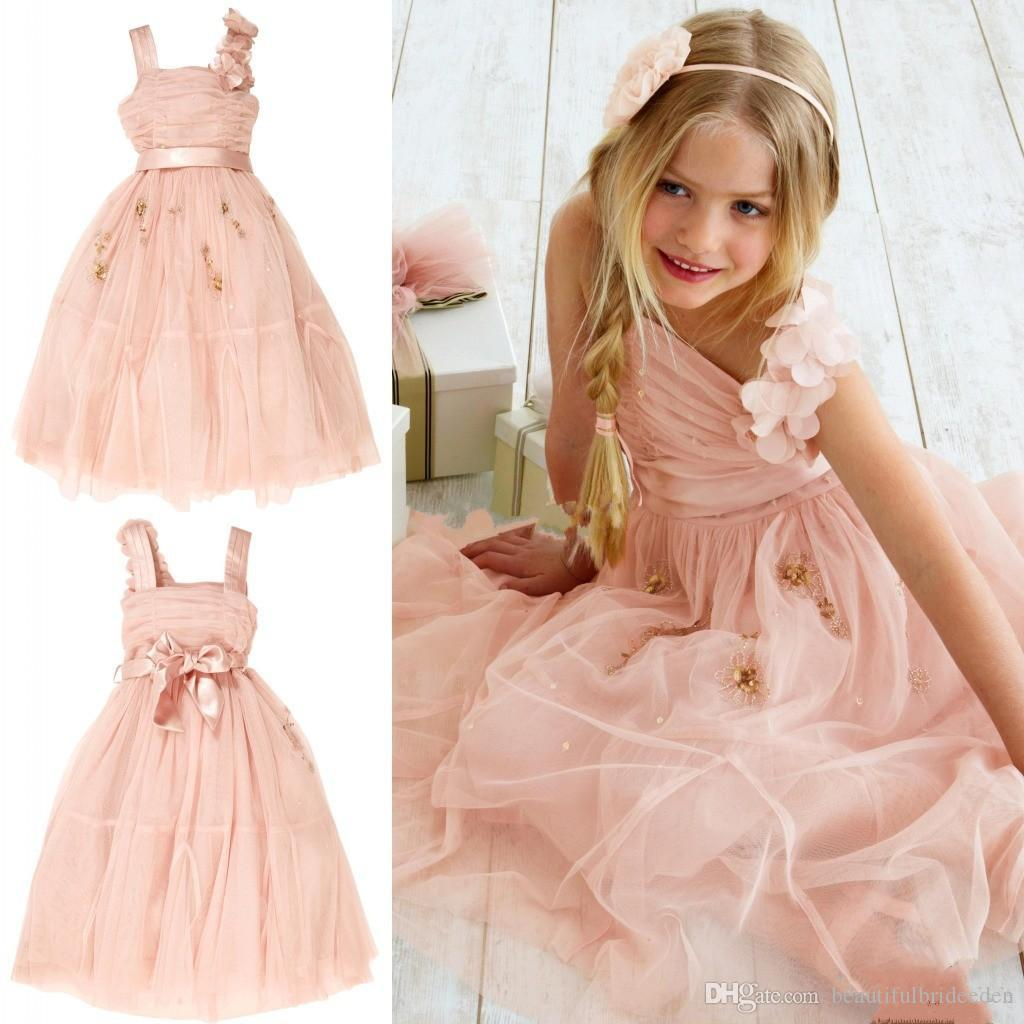 2017 Cute Blush Flower Girl Dresses Princess Hand Made Flower Beaded Tulle Sash Spaghetti Tea Length Kids Little Girls Dresses for Weddings