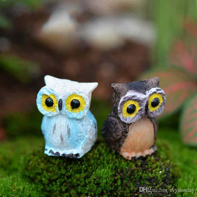 Mini Resin Big Eye Owl Fairy Garden Miniatures Handicraft Moss Terrarium Creative Green Plant Gift Micro Landscape Ornaments DIY Zakka