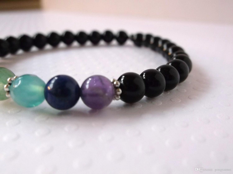7 Chakra Bracelet avec Obsidienne. Bracelet extensible en pierre naturelle authentique. La guérison mala du poignet d'énergie pour équilibrer et aligner les chakras