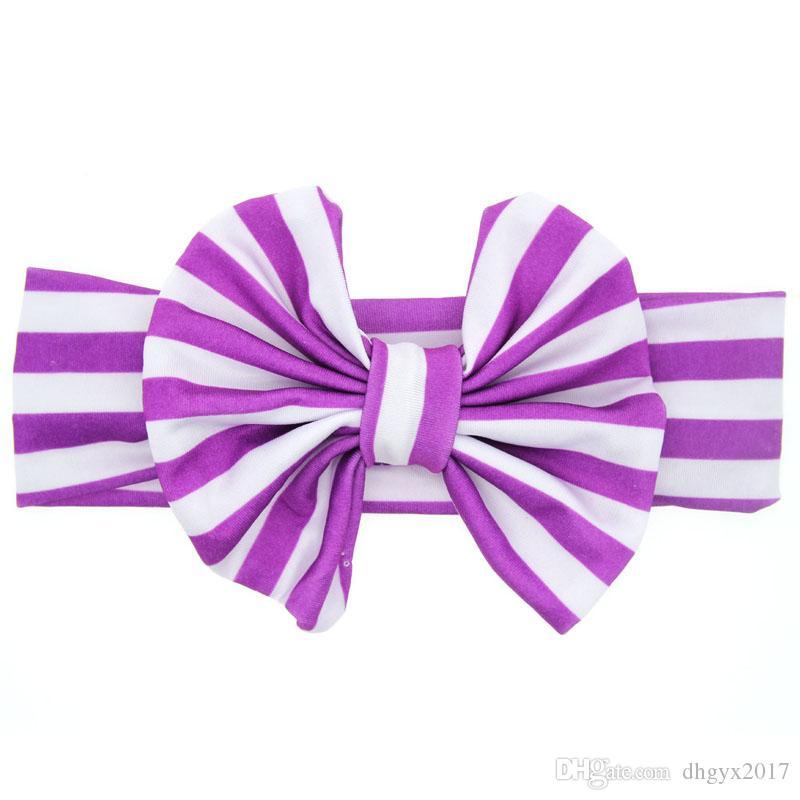 Headband Stripe Big Bow Knot Flower Kids Hair Band Kids Elastic Headband Girls Cotton Hair Accessories Ring Flower Headwear Wholesale