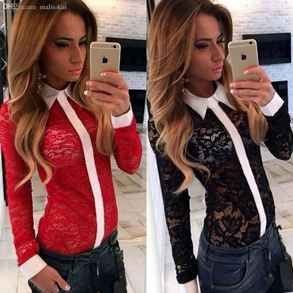Wholesale-Free shipping new autumn and winter 2016 explosion models sexy black and red lace openwork stitching shirt female personality