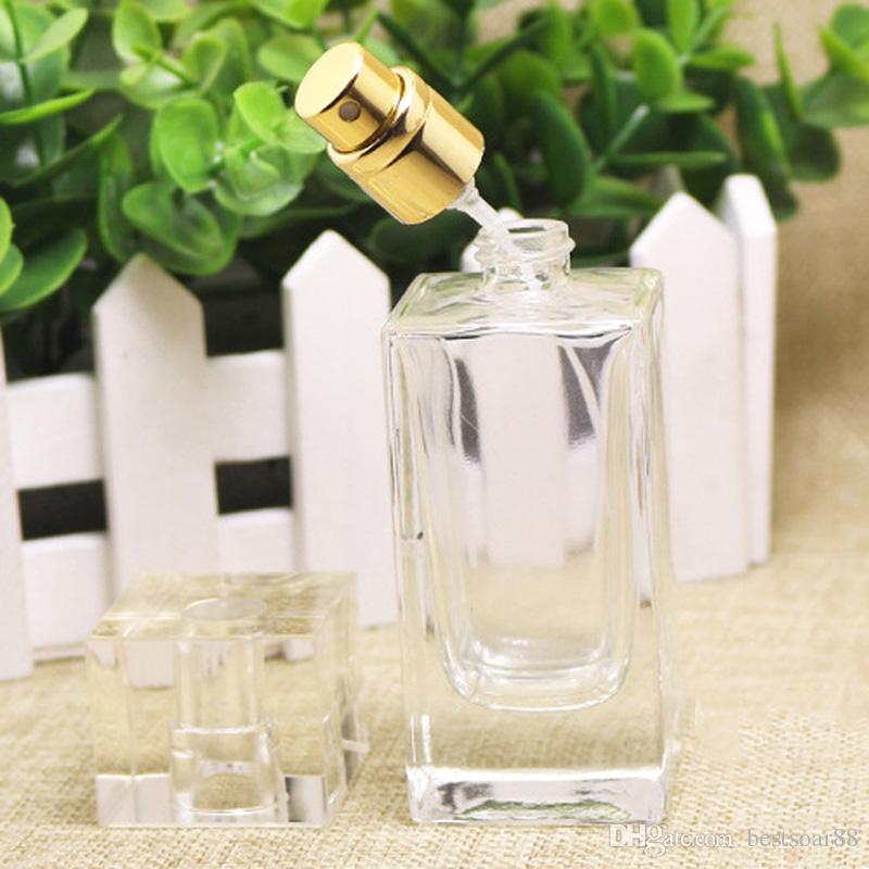Venda quente 50 ml Perfume Frasco Conta-gotas de Vidro de Cristal, frasco de Spray De Vidro De Alta Qualidade Cosméticos Com Atomizador De Prata ouro
