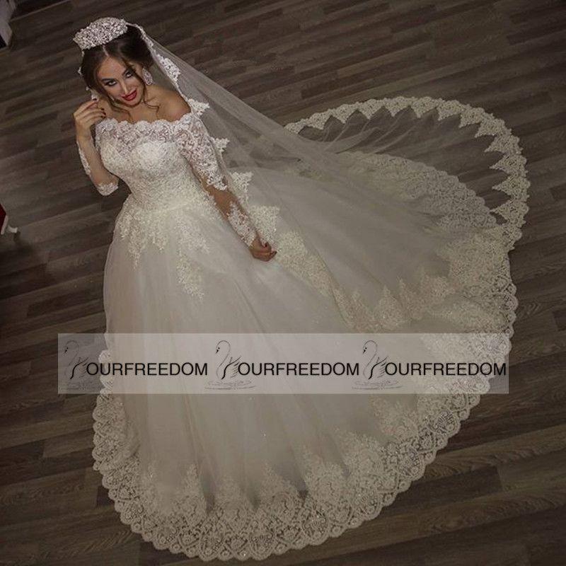 2019 nouvelle arrivée robes de mariée spécial col bateau dentelle robes de mariée manches longues appliques perles magnifiques robes de mariée