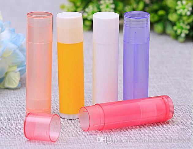 5g Renkli Plastik Boş Dudak Balsamı Tüpler Konteynerler Kapaklar için Crayon Ruj, ev yapımı Dudak Balsamı 500 Adet / grup DHL Tarafından Ücretsiz Kargo