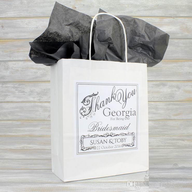 Decoraciones de boda fiesta Personalizada Favor de la boda Bolsa de regalo de fiesta Tejido de papel Decoración de fiesta Regalos de boda para invitados
