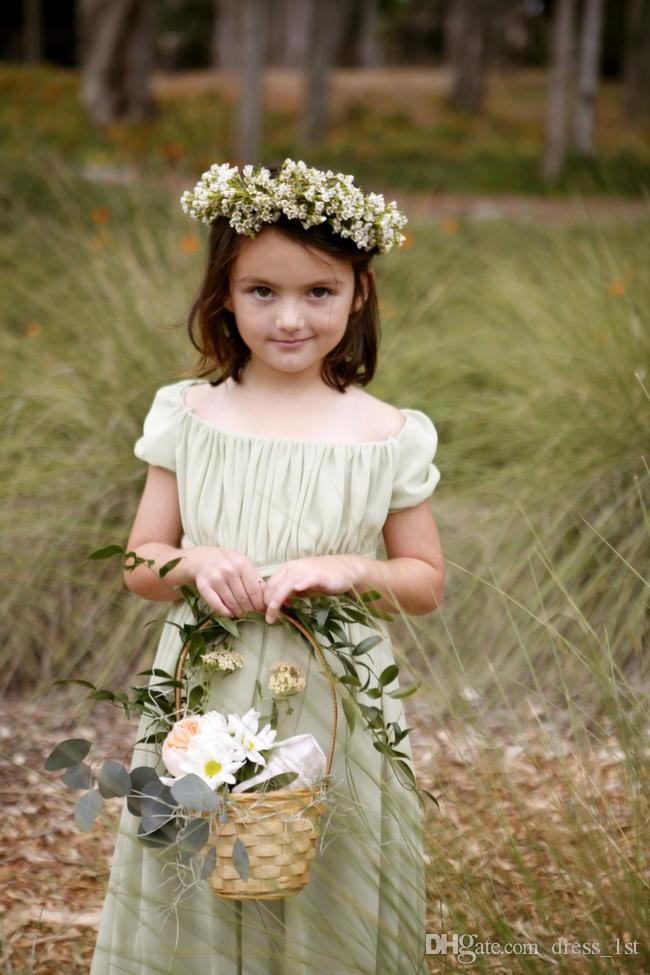 Böhmischen Stil 2016 Chiffon Schulterfrei A-Linie Blumenmädchenkleider Für Hochzeiten Günstige Scoop Kurzarm Falten Formale Kleider EN6142