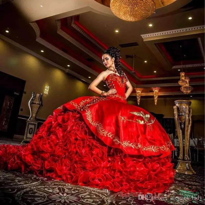 2017 Sexy Sweetheart Red Embroidery Ball Gown Quinceanera Dresses Satin Lace Up Floor Length Vestido De Festa Sweet 16 Dress