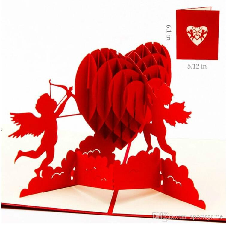Acheter 3D Pop Up Anniversaire Cartes De Voeux Postales Visite Personnalisees Laser Decore Coeur Blanc Invitation Vintage Mariage Amour