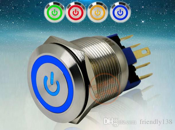 GQ22-11EPS LED 메탈 전원 푸시 버튼 스위치 304 스테인레스 스틸 1NO 1NC 22mm 24V 셀프 잠금 또는 셀프 리셋 선택할 수있는 4 가지 색상