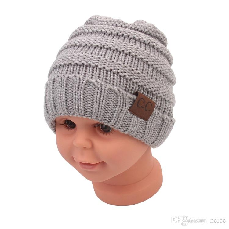 Hot-seeling Baby Hats CC Trendy Beanie Crochet Fashion Beanies Outdoor Hat Winter Newborn Beanie Children Wool Knitted Caps Warm