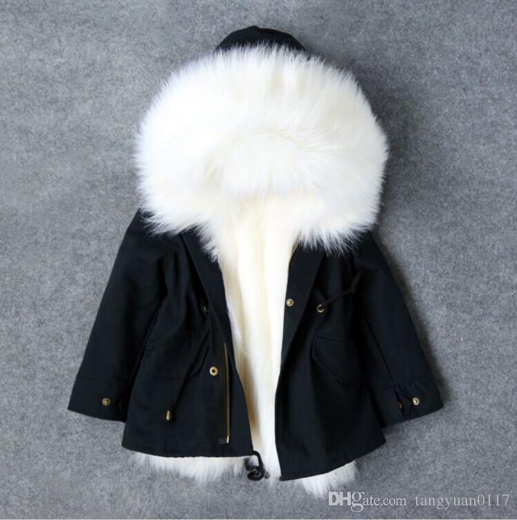 Kızlar Kış Coat Faux Fox Kürk Astar Ayrılabilir Ceketler Toddlers Çocuk giyim Bebek Kız Kalınlaşmak Sıcak Ceket Parkas Için Boy