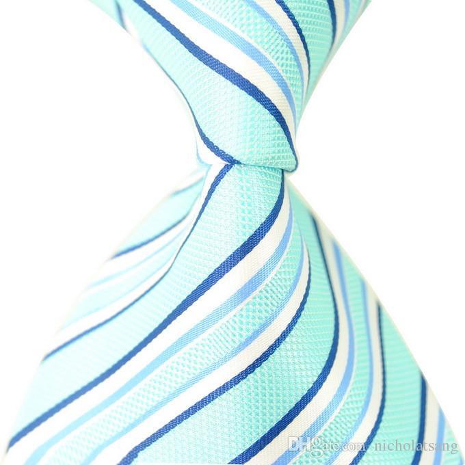 8 개 스타일의 새로운 클래식 스트라이프 남성 자주색 넥타이 자카드 직물 100 % 실크 블루와 화이트 남성 넥타이 정장 비즈니스 넥타이 무료 배송