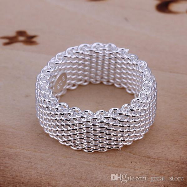 rede de venda quente prata esterlina anel GR040, das mulheres 925 Rrings Anéis Banda