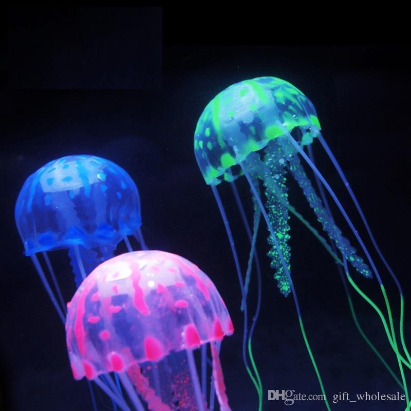 10cm * 21cm 빨판 물고기 탱크와 인공 빛나는 해파리 수족관 장식 수족관 장식품 액세서리 선택을위한 6 가지 색상