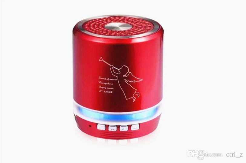 Angel T2308A portable Wireless Bluetooth Mini Bass Stereo led Speaker Metal Alloy Support TF card USB Handfree HiFi Musci player t2020