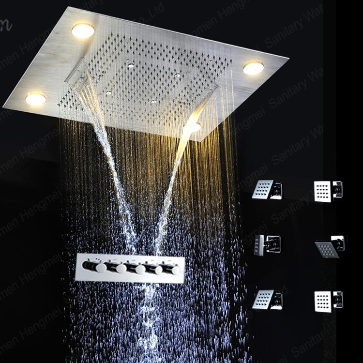 2018 Dual Rain And Waterfall Shower Head Multi Color Changing Led ...