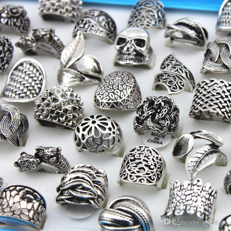 Alloy Skull Skeleton Carved Rings Mixed Styles Men's Rings Retro Hollow out Vintage Antique Silver Finger Jewelry