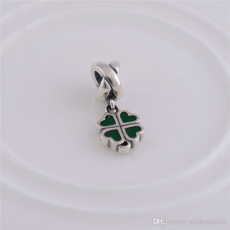 lucky clover pendant 925 sterling silver fits DIY bracelet and necklace hot sale LW071B