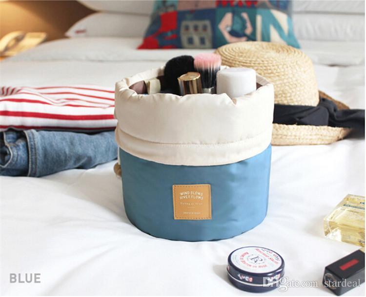 2016 Arrivée Barrel En Forme De Voyage Cosmétique Sac Nylon Polyester Haute Capacité Cordon Élégant Tambour Laver Sacs Maquillage Organisateur De Stockage Sacs