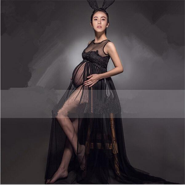 c0e0e02d942d3 2019 2016 LACE Transperant Black Maternity Long Lace Dresses Pregnant  Photography Props Fancy Pregnancy Summer Style Beach Dress Fancy Clothes  From Gengduo, ...