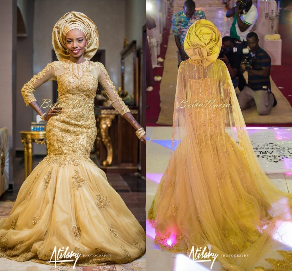 2016 Gold Lace Wedding Dresses Bellanaija Mermaid Aso Ebi