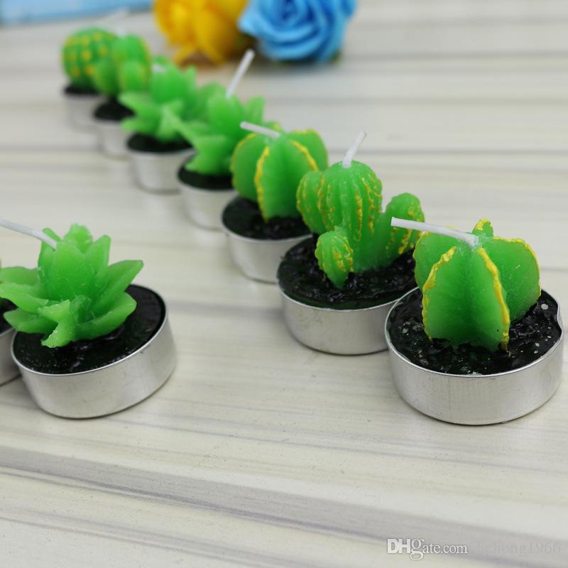 Kreative grüne Kerze Simulation Topf Succulents Bougie Halloween Veranstaltungsdekoration Feiertags-Party-Zubehör für Weihnachtsgeschenk 5mz C R