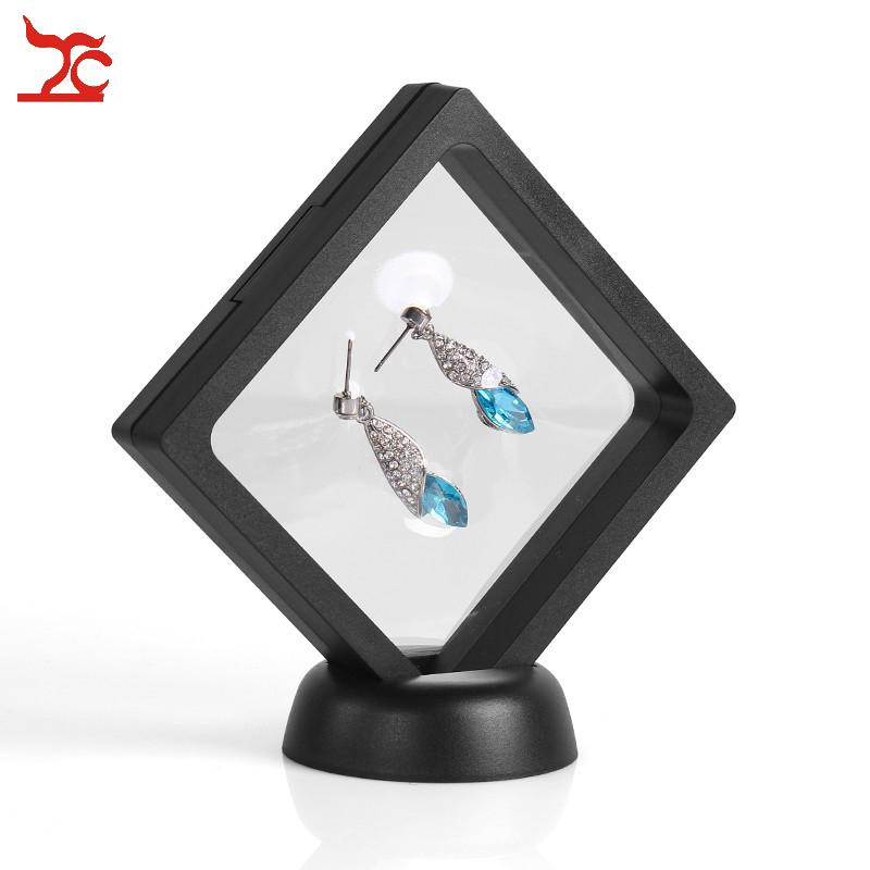 2Pcs Plastic Transparent PET Suspension Window Watch Holder Pendant Ring Necklace Storage Stand Case Jewelry Display 3D Stand 9*9 CM