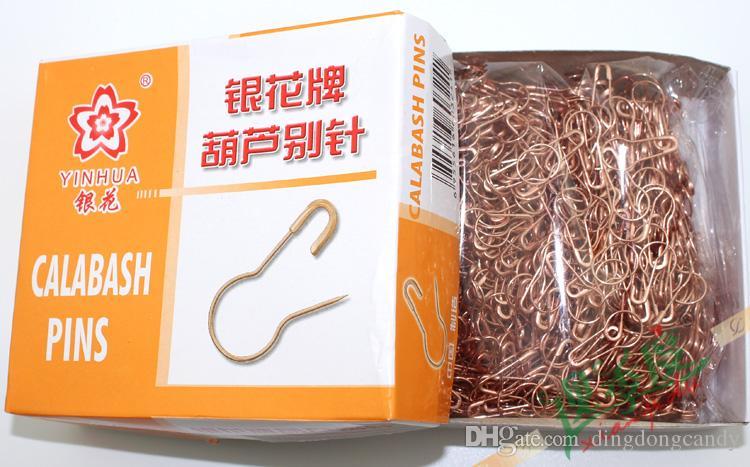 Nouvelle arrivée vêtements pin or rose en forme de petite goupille de sécurité gourde aiguille fil d'acier 0.95 * 2.1 cm