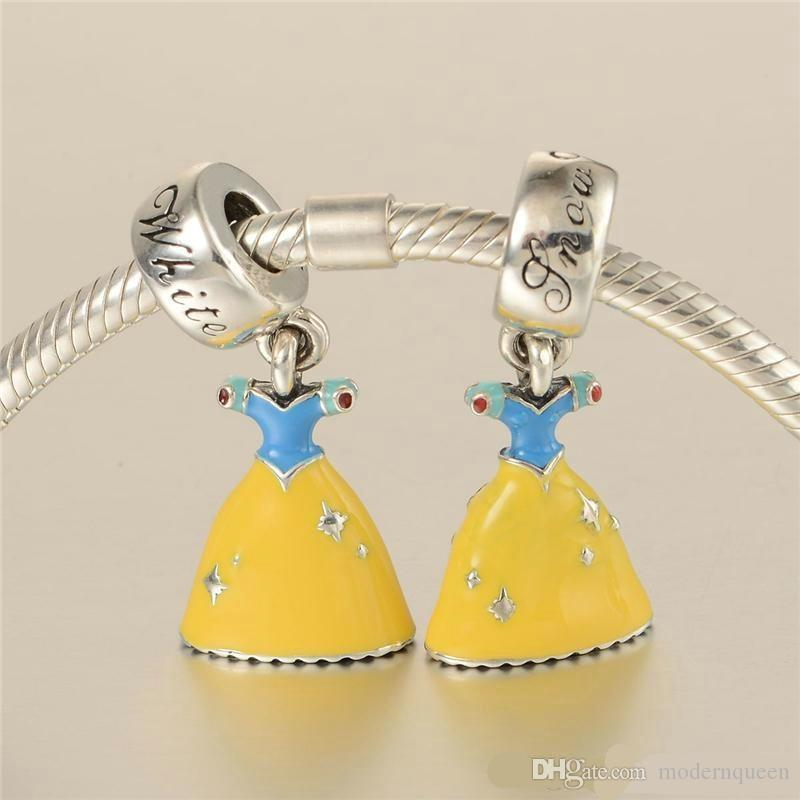 Cinderella charms dangling S925 sterling silver fits for pandora style charms bracelets dress LW571H8