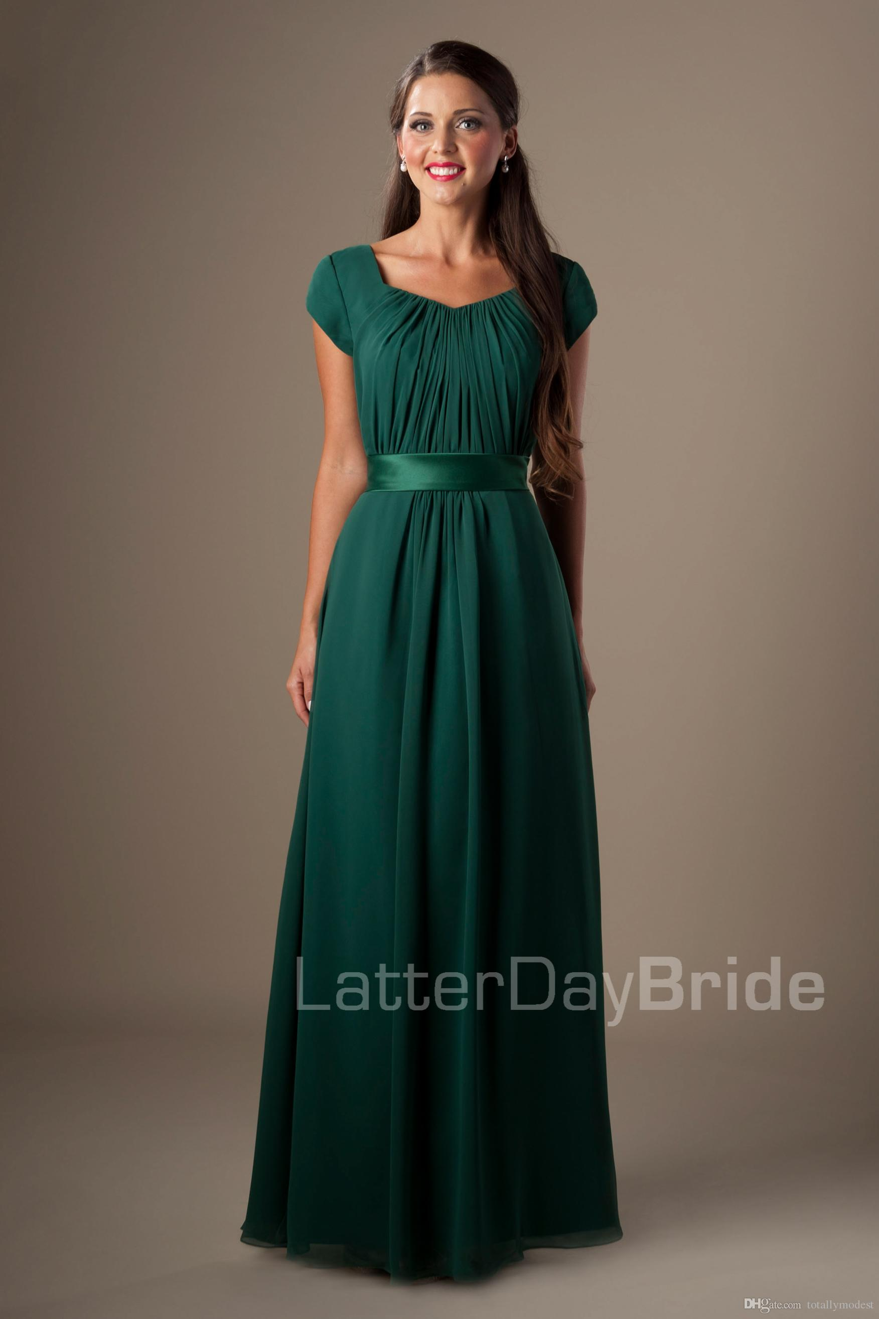 967c151dd579 Green Long Chiffon Modest Bridesmaid Dresses With Short Sleeves A Line  Temple Wedding Guests Dresses A Line Floor Maids Of Honor Dresses  Bridesmaid Dresses ...