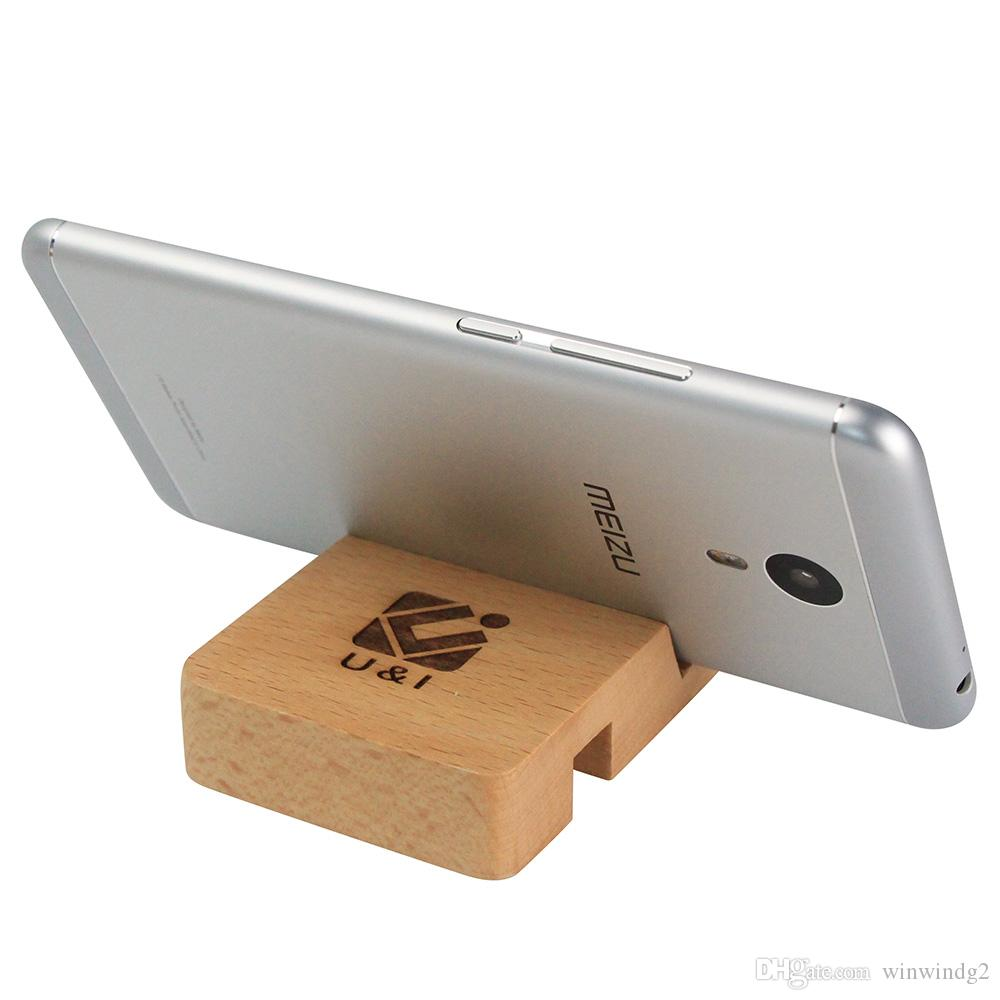 Universal Wood Phone Holder U&I Lazy Small Portable Bamboo Wood Stand for iPhone Huawei Samsung Smart Phone