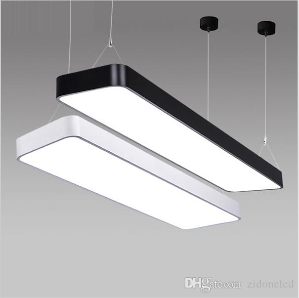 Classroom office modern led ceiling pendant lamp rectangle suspended lighting led pendant light fixtures ac85 265v white black cheap pendant light ceiling