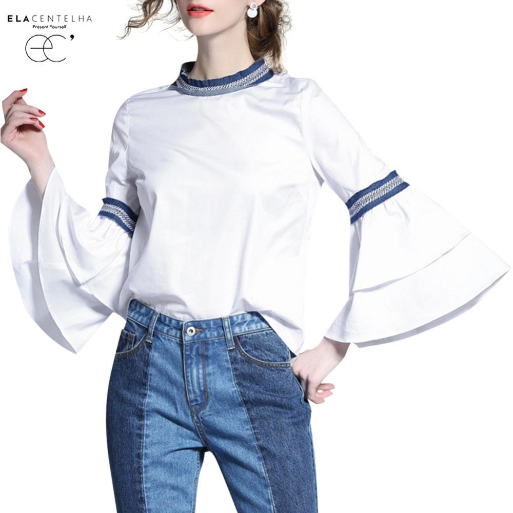cd01b9119d92e ElaCentelha Women Blouse 2017 Fashion White Cotton Flare Sleeve Blusas  Ladies Casual Women Tops Shirt Female Clothing
