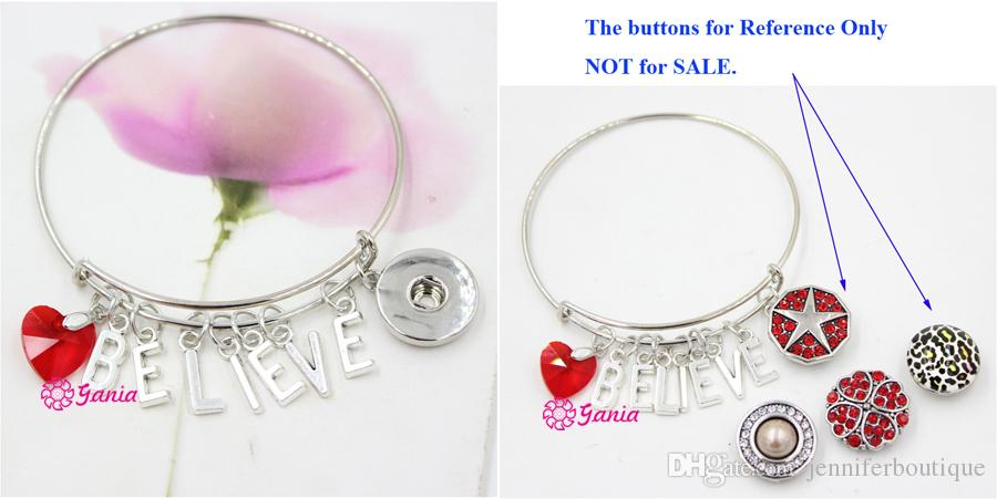 New Arrival Interchangeable Red Crystal Heart Initials Letter BELIEVE Charms Wire Expandable Snaps Bangles Bracelets for women